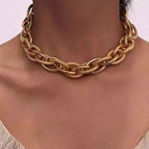 new 18k gold plated choker Cuban Necklace